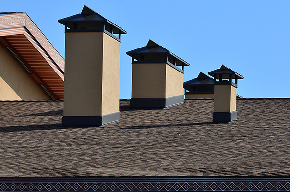 Chimney on rooftop.